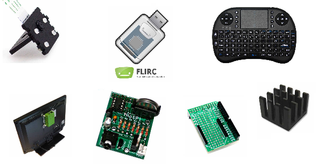 Hotpi, FLIRC, VESA mount, heatsink, XBMC mediecenter pakke, mini tastatur i raspberry pi shoppen!