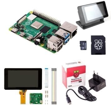 "pi 4 model b touch display starter kit med 7"" touchscreen"